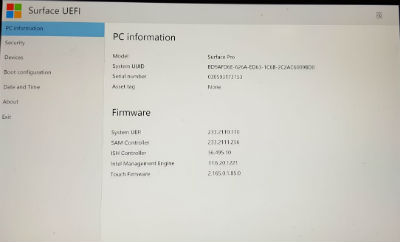 Window Surface Pro 5 uefi setting